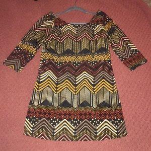 V-back print pattern navy dress